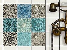 Fliesen Deko Fliesenaufkleber für Küche u. Bad   Fliesenfolie Fliesensticker Klebefliesen Mosaikfliesen Dekorfolie   10x10 cm - Motiv Marokkanisch - 18 Stück