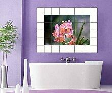 Fliesenaufkleber Blumen rosa Garten 15 10 25 20 cm Fliesenbild Fliesen Kachel Fliesenbilder Aufkleber Bad Küche 8A593, Bildformat:75cmx50cm;Fliesengröße:Fliese 15x20cm