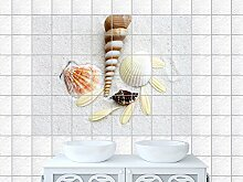 Fliesenaufkleber Deko für Bad Aufkleber Fliesensticker Fliesenbild Muschel (Fliesenmaß:15x15cm(BxH)//Bildformat:105x70cm(BxH))