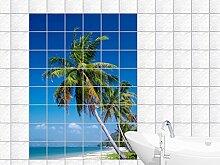 Fliesenaufkleber Fliesen für Küche Für Bad Deko Fliesenbild Palmen (Fliesenmaß:15x20cm(BxH)//Bildformat:60x90cm(BxH))