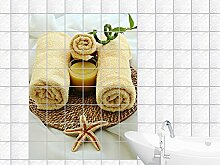 Fliesenaufkleber Fliesen für Küche Für Bad Deko Fliesenbild Tüchern und Kerze (Fliesenmaß:20x25cm(BxH)//Bildformat:60x90cm(BxH))
