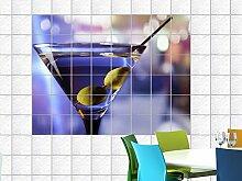 Fliesenaufkleber Fliesenbild alkoholisches Getränk mit Oliven Küche Bar (Fliesenmaß:15x10cm(BxH)//Bildformat:150x100cm(BxH))