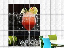 Fliesenaufkleber Fliesenbild Cocktail mit Eiswürfel und Limetten für Bar (Fliesenmaß:15x15cm(BxH)//Bildformat:50x75cm(BxH))