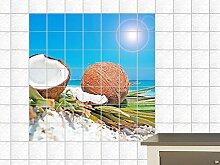 Fliesenaufkleber Fliesenbild Kokosnüsse Strand Meer Karibik Bad Küche Bar (Fliesenmaß:10x10cm(BxH)//Bildformat:60x60cm(BxH))