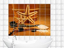 Fliesenaufkleber Fliesenbild Sauna Highlights mit Seesternen und Badesalz (Fliesenmaß:10x15cm(BxH)//Bildformat:150x100cm(BxH))