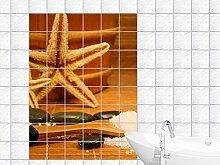 Fliesenaufkleber Fliesenbild Sauna - Utensilien mit Seesternen (Fliesenmaß:10x15cm(BxH)//Bildformat:90x135cm(BxH))