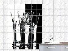 Fliesenaufkleber Fliesenbild Schnapsgläser mit Eis für Küche oder Bar (Fliesenmaß:20x25cm(BxH)//Bildformat:100x150cm(BxH))