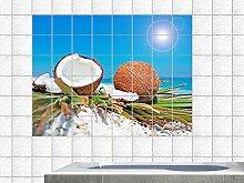 Fliesenaufkleber Fliesenbild Strand Meer Kokosnuss Cocos Bad Küche Bar (Fliesenmaß:15x20cm(BxH)//Bildformat:135x90cm(BxH))