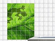 Fliesenaufkleber Fliesenbild Tiere Gecko Blatt Baum Pflanze Badezimmer WC (Fliesenmaß:15x25cm(BxH)//Bildformat:50x75cm(BxH))