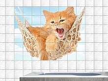 Fliesenaufkleber Fliesenbild Tiere Hängematte Katze Badezimmer Küche (Fliesenmaß:20x20cm(BxH)//Bildformat:90x60cm(BxH))