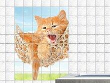 Fliesenaufkleber Fliesenbild Tiere Katze Hängematte Kätzchen Bad Küche (Fliesenmaß:20x25cm(BxH)//Bildformat:60x90cm(BxH))