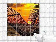 Fliesenaufkleber Fliesenbild Traumhafter Sonnenuntergang mit Hängematte (Fliesenmaß:10x25cm(BxH)//Bildformat:130x130cm(BxH))