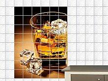 Fliesenaufkleber Fliesenbild Whisky Eiswürfel Getränk Alkohol Küche Bar (Fliesenmaß:20x20cm(BxH)//Bildformat:80x120cm(BxH))