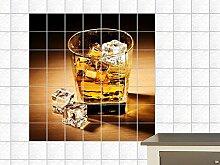 Fliesenaufkleber Fliesenbild Whisky Glas Eis Badezimmer WC Küche Bar (Fliesenmaß:20x25cm(BxH)//Bildformat:130x130cm(BxH))