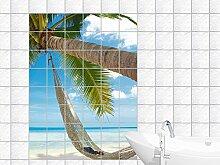 Fliesenaufkleber Fliesensticker Bild für Badezimmer Hängematte Palme Strand Meer (Fliesenmaß:25x10cm(BxH)//Bildformat:60x90cm(BxH))