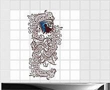Fliesenaufkleber Fliesentattoos für Bad & Küche - Küchenfliesen - 60x60 cm - Fließen 15x10 cm - ME236 - Kalligraphie Fluss