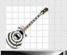 Fliesenaufkleber Fliesentattoos für Bad & Küche - Küchenfliesen - 60x60 cm - Fließen 20x10 cm - ME355 - Gitarre Musikalitä