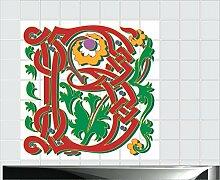 Fliesenaufkleber Fliesentattoos für Bad & Küche - Küchenfliesen 60x60 cm - Fließen 10x20 cm - MF018 - B Kalligraphie
