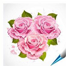 Fliesenaufkleber für Bad und Küche - 10x10 cm - Motiv Rosenstrauß - 20 Fliesensticker für Wandfliesen