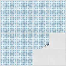 Fliesenaufkleber für Bad und Küche - 15x15 cm - Dekor Blue Tiles - 500 Fliesensticker für Wandfliesen