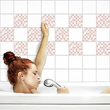 Fliesenaufkleber für Küche und Bad   Fliesenfolie für 15x15cm Fliesen   Mosaik Rosé matt   42 Stück   Klebefliesen günstig in 1A Qualität von PrintYourHome