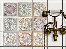 Fliesenaufkleber für Küchenspiegel und Badfliesen   Fliesenfolie - Vinyl Mosaik-Fliesen   selbsklebend, abwaschbar und rückstandslos ablösbar   15x15 cm - Motiv Mosaik Afrika - 9 Stück