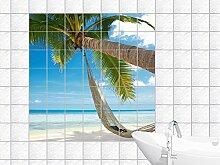 Fliesenaufkleber in Palme und Hängematte am Strand Design (ideal für Badezimmer und Küche), Picture size: 130 x 130 cm (W x H), Tile size: 15 x 15 cm (W x H)