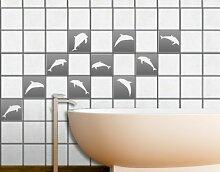Fliesenaufkleber No.67 Zehn Delfine Set Fliesen Küche Bad Dekoration Blumen, Farbe:Haselnussbraun;Fliesengröße:10cm x 10cm