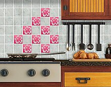 Fliesenaufkleber No.71 Hibiskus Set Fliesen Küche Bad Dekoration Blumen, Farbe:Grau;Fliesengröße:10cm x 10cm