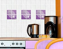 Fliesenaufkleber No.CG100 Feathery Set Fliesen Küche Bad Dekoration Farbe, Farbe:Creme;Fliesengröße:20cm x 15cm