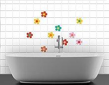 Fliesenaufkleber No.UL677 Bunte Blümchen 10er Set Bad Dekoration Farbe Sommer, Fliesengröße:15cm x 15cm