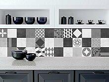 Fliesenaufkleber Wand Geometrische Graphit Küche Dekoration Ideen (Packung mit 48) - 10 x 10 cm