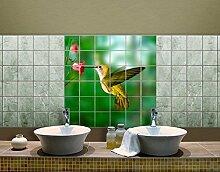 Fliesenbild Kolibri und Blüte Amerika Vogel Blume Pflanze Fliegen, Fliesengröße:15 cm x 15 cm;Größe:120cm x 120cm