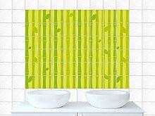 Fliesenbilder Fliesenaufkleber für Badezimmer Bambus Blätter Pflanze Küchenflies (Fliesengröße15x10cm (BxH)//Bildgröße 180x120cm (BxH))
