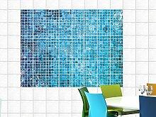Fliesenbilder Fliesenaufkleber für Küche Mosaikmuster blau Kacheln (Fliesengröße10x10cm (BxH)//Bildgröße 105x70cm (BxH))