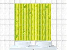 Fliesensticker Aufkleber Fliesenbild für Badezimmer Bambus Blätter Pflanze (Fliesengröße15x20cm (BxH)//Bildgröße 80x80cm (BxH))