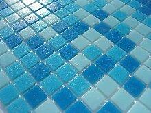 FLIESENTOPSHOP 1qm Glas-mosaik fliesen pool dusche bad AZUR blau hellblau dunkelblau sauna Mix