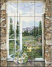 Fliesenwandbild - A Room With A View - von Jane