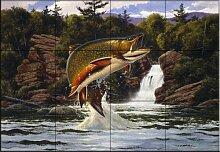 Fliesenwandbild - Bachforelle 2 - von John Rice -