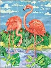 Fliesenwandbild - Bambus Flamingo mit Sky - von