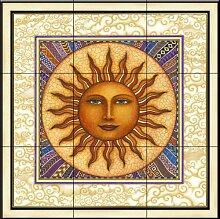 Fliesenwandbild - Celestial Sun mit Rahmen - von