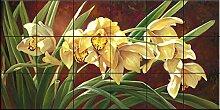 Fliesenwandbild - Goldene Cymbidium Orchideen-von