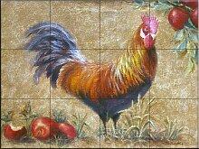 Fliesenwandbild - Hahn mit Äpfeln 1 - von Rita