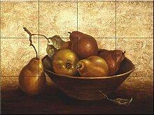 Fliesenwandbild - Holzschale mit Pears- von Peggy