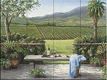 Fliesenwandbild - Mit Blick auf den Weinberg - von