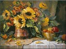 Fliesenwandbild - Sonnenblumen mit Kupfer und
