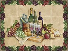 Fliesenwandbild - Weinzeit mit Rand- von Rita