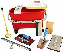 Fliesenwaschset Fliesenwascheimer 23 Liter + Werkzeuge Fliesen Gummiwischer Glättekelle mit Softgriff uvm.