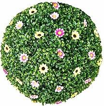 Flikool Künstliche Buchsbaumkugel mit Blumen