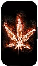 Flip Cover für Samsung Galaxy S6 Edge G925 Design 363 Hanf Marihuana Pflanze Hülle aus Kunst-Leder Handytasche Etui Schutzhülle Case Wallet Buchflip Vorderseite Bedruckt mit Bild Rückseite Schwarz (363)